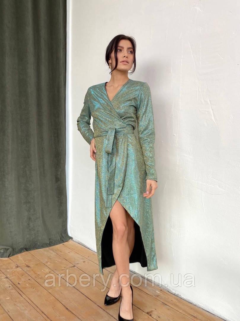 Женское платье на запах с блестящим напылением