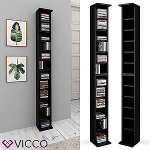 Полиця стелаж для CD дисків Vicco, 12 відсіків, чорний