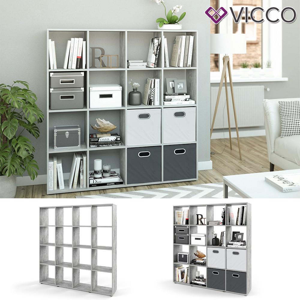 Разделитель комнаты 139x143 Vicco, 16 полок, бетон