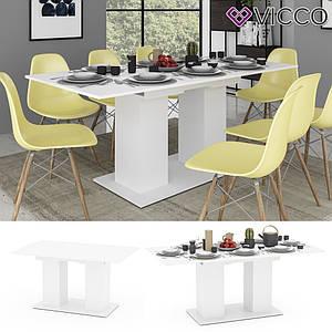 Раскладной обеденный стол 140х90 Vicco Dix, белый