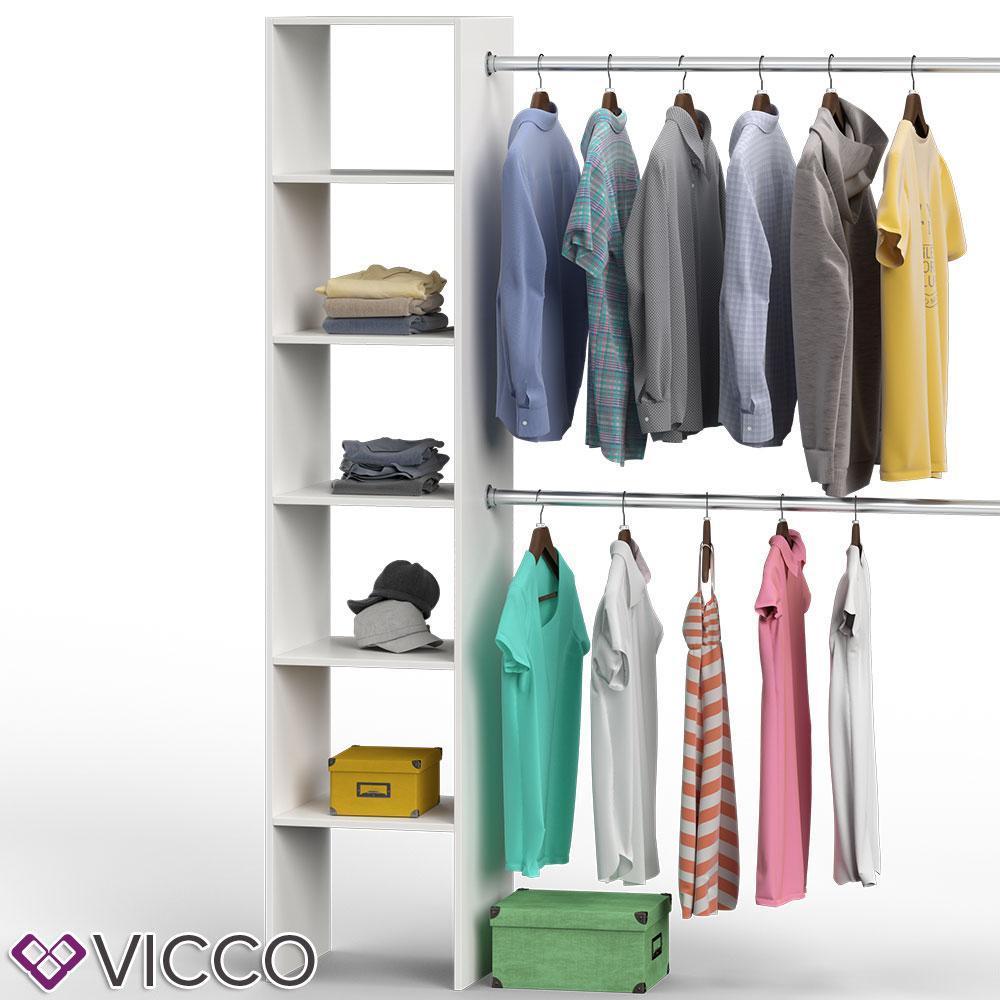 Розширення для гардеробу Vicco Visit 6 полиць, 2 вішаки, біле