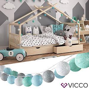 Світлодіодна гірлянда Vicco, 20 кульок, сірі і зелені