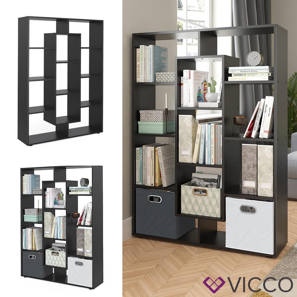Стелаж розділювач 104x143 Vicco, 11 відсіків, чорний