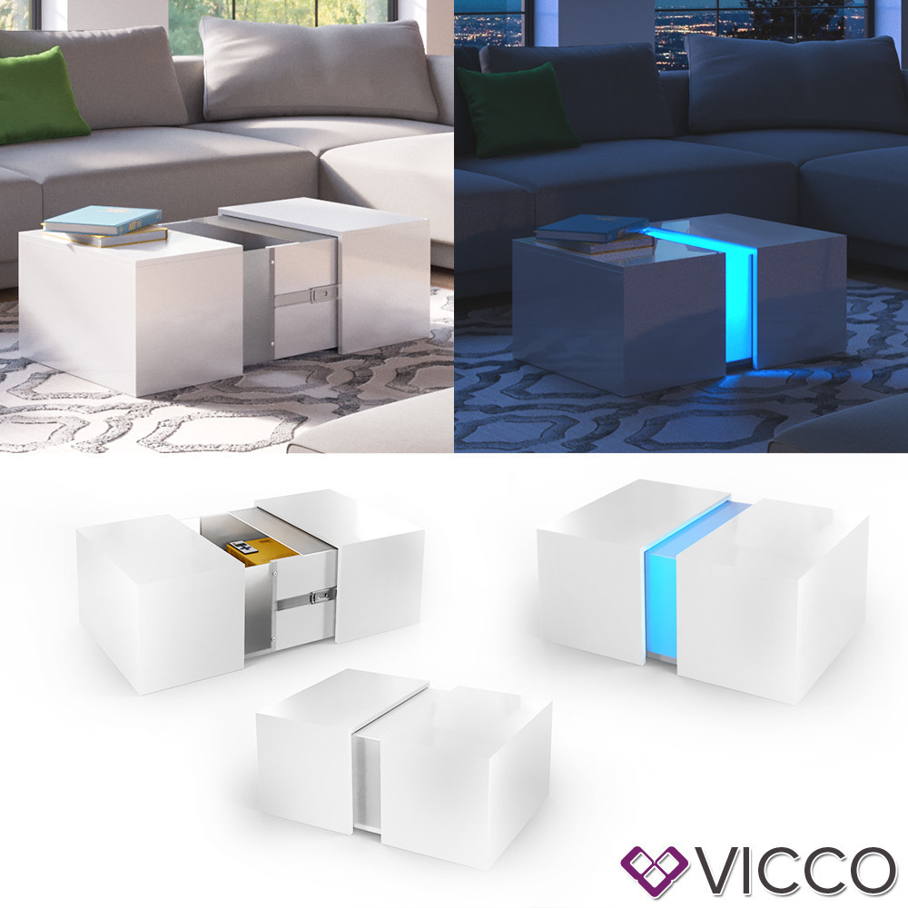 Столик з LED підсвічуванням 71x60 Vicco Dandy, білий глянець