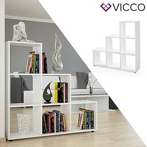 Треугольный стеллаж 105x108 Vicco Feacher, 6 ячеек , белый