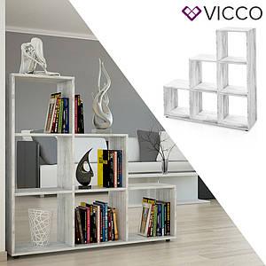 Треугольный стеллаж 105x108 Vicco Feacher, 6 ячеек , бетон