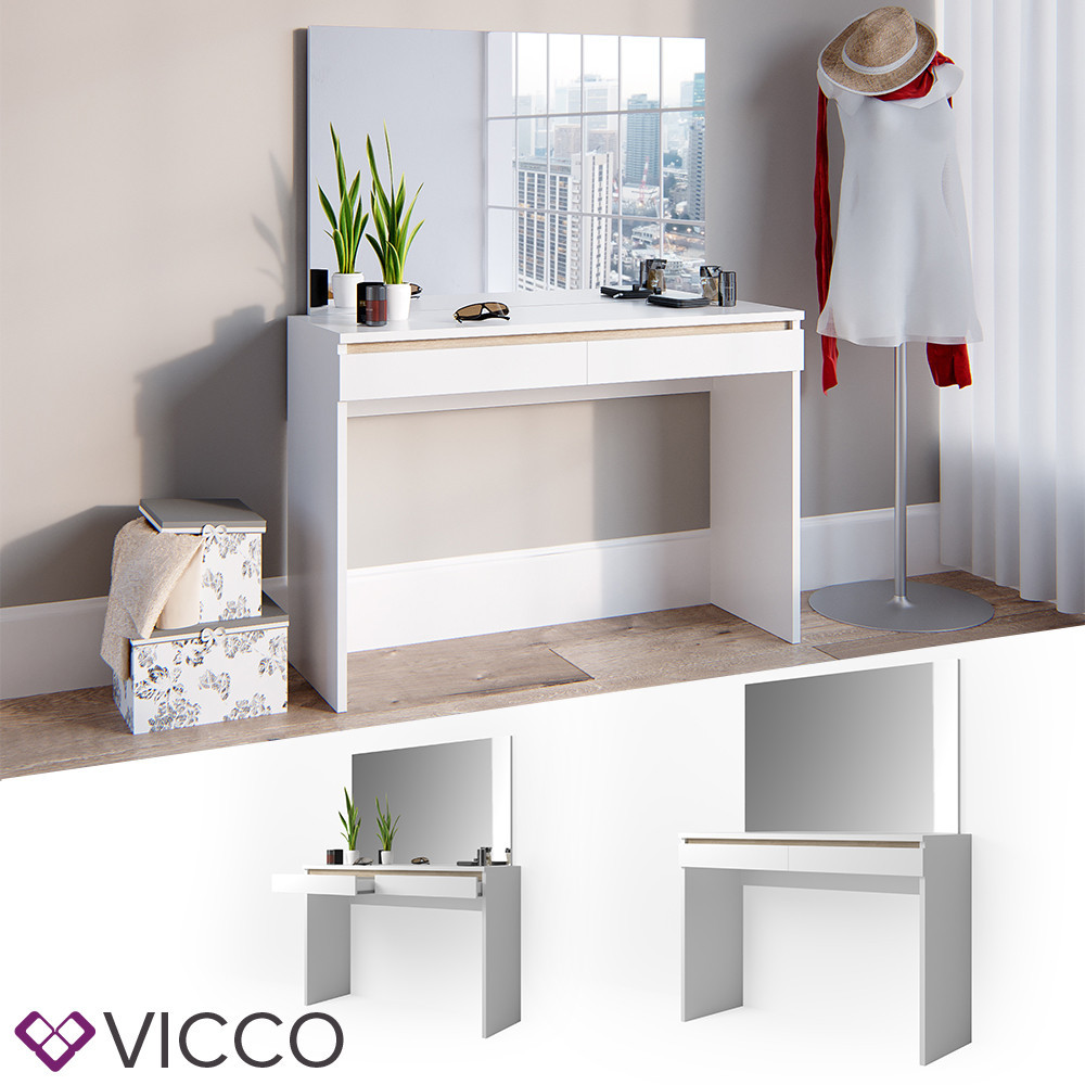 Туалетний стіл без дзеркала 120x83 Vicco Emma, білий сонома