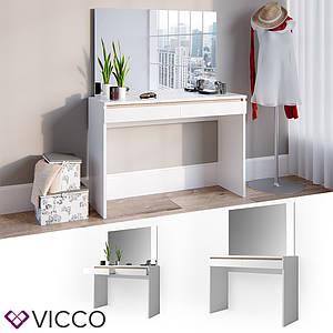 Туалетний стіл з дзеркалом 120x83 Vicco Emma, білий сонома