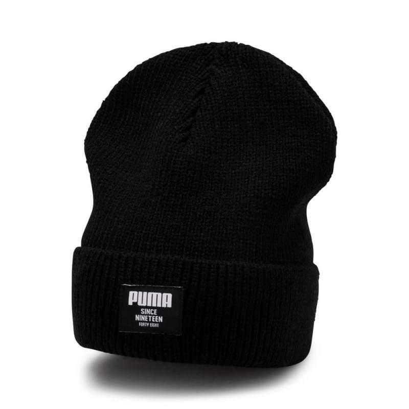 Шапка спортивна Puma Ribbed Сlassic Beanie 021709 01 (черний, подвійна в'язка, тепла, зимова, логотип пума)