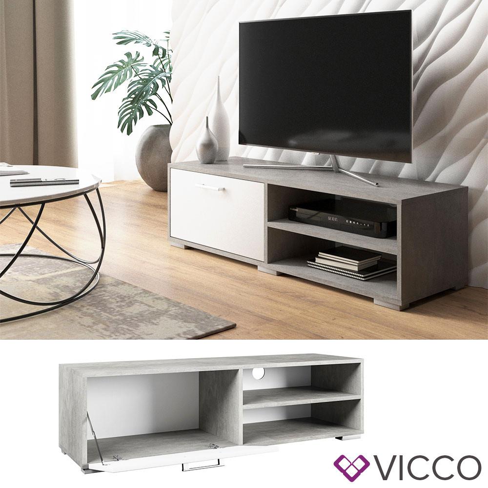 Тумба для телевізора 120x34 Vicco Kamilla, білий, бетон