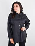 Николь. Женская рубашка для больших размеров. Черный., фото 2