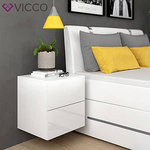 Тумбочка в спальню 50x51 Vicco Charles, білий глянець