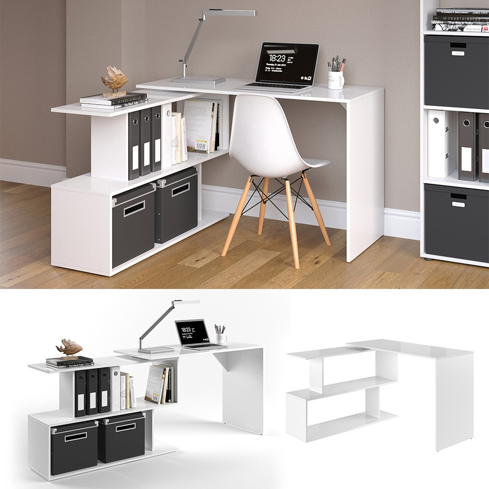 Кутовий комп'ютерний стіл 120x77 Vicco Levia, білий