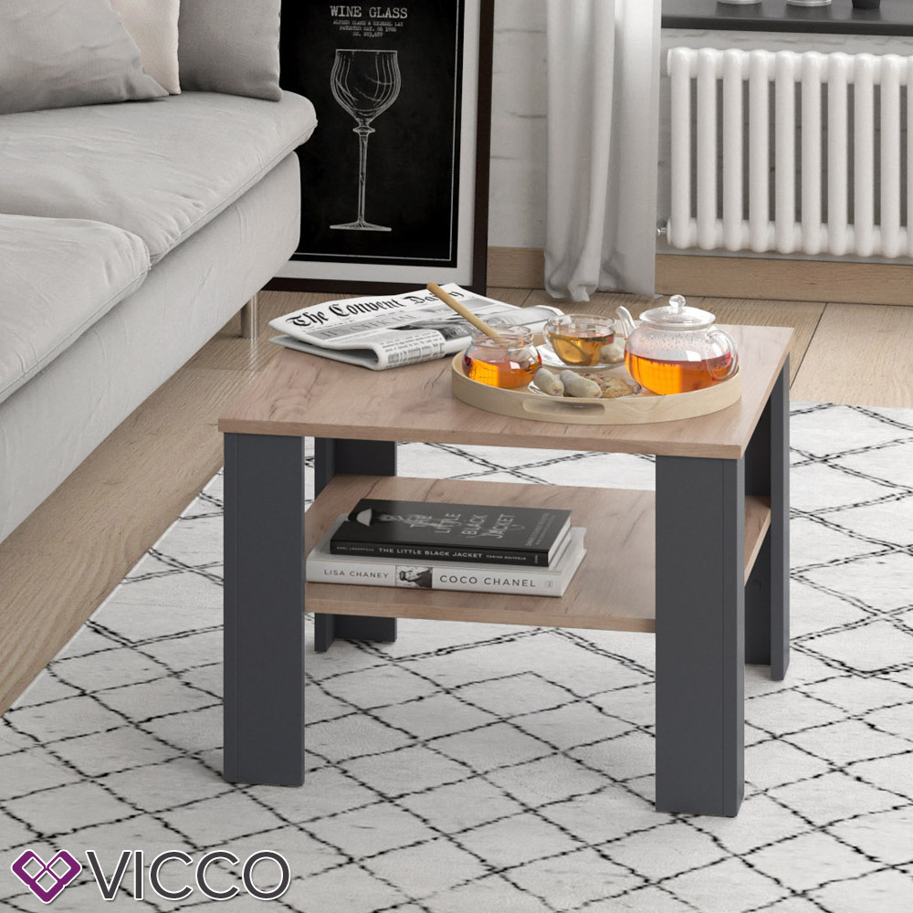 Чайный столик Vicco Homer 60x60, антрацит, сонома