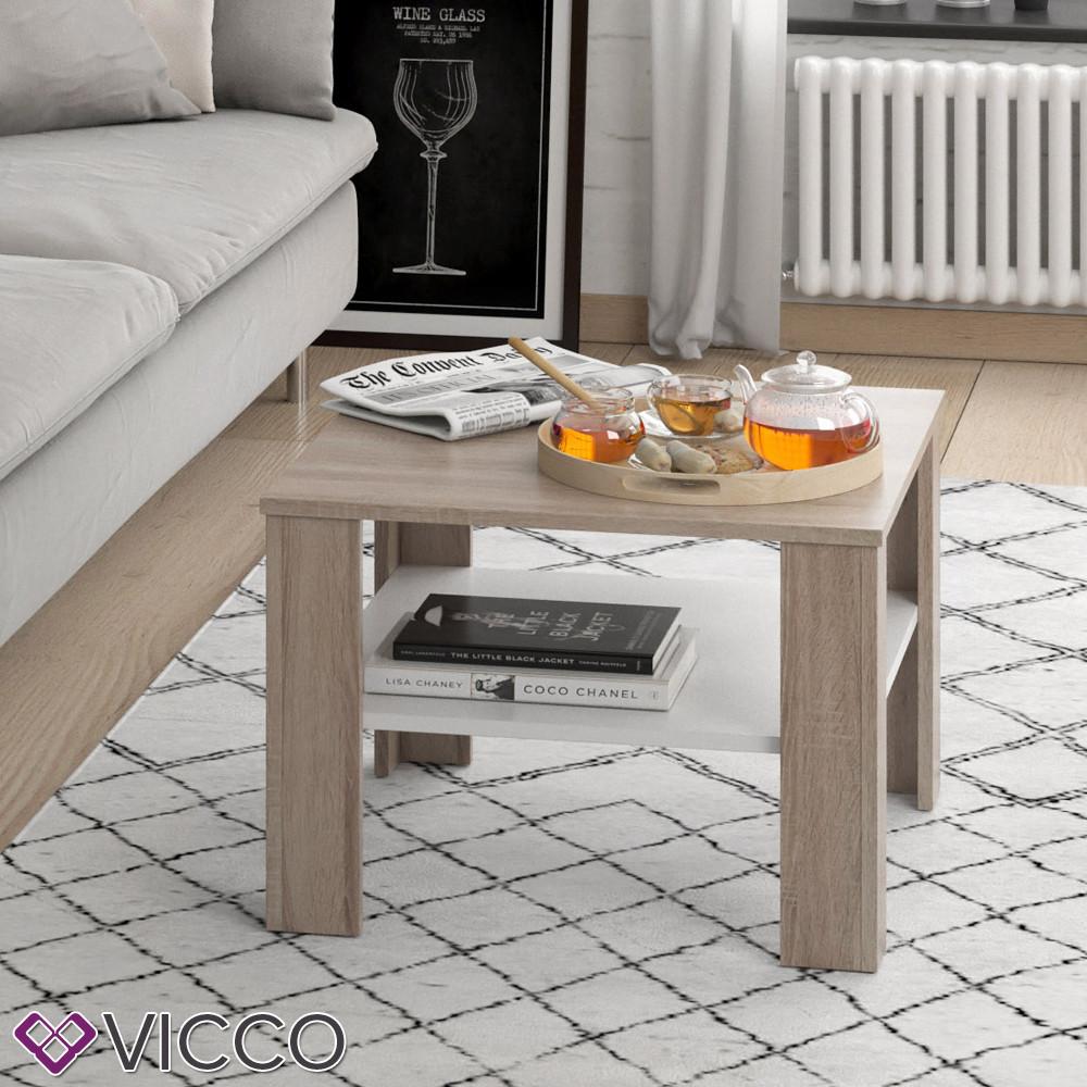 Чайный столик Vicco Homer 60x60, белый, сонома
