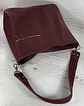 216  Натуральная кожа Объемная женская сумка через плечо Кожаная бордовая марсала из натуральной кожи сумка, фото 3