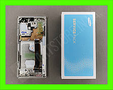 Дисплей Samsung N985 Galaxy Note 20 Ultra White (GH82-23622C) сервисный оригинал в сборе с рамкой