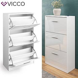 Шкаф обувница 59x105 Vicco Gizmo, глянец белый