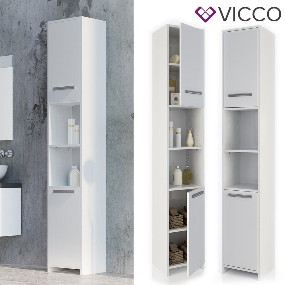 Шкаф пенал в ванную 30x190 Vicco Kiko, белый