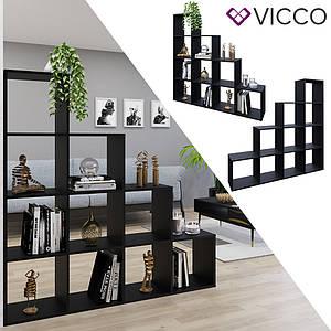 Шкаф перегородка 138x143, Vicco, 10 ячеек черный