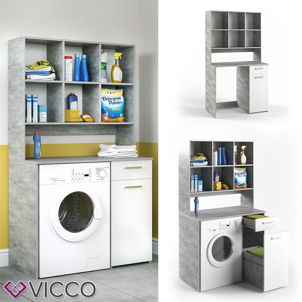 Шкаф под стиральную машину, 185x103, Vicco белый, бетон
