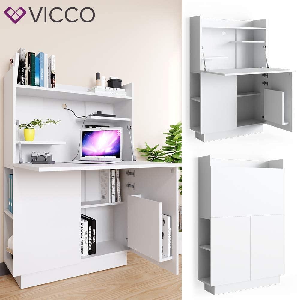 Шкаф секретер для дома и офиса 119x85 Vicco Alena, белый