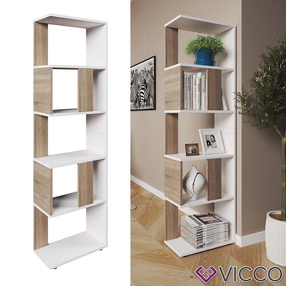 Шкаф стеллаж 45x163, 5 полок, Vicco, белый, сонома