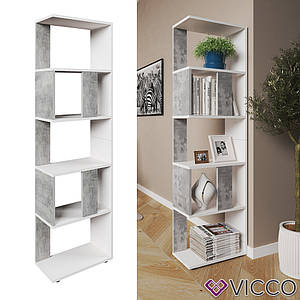 Шкаф стеллаж 45x163, 5 полок, Vicco, бетон