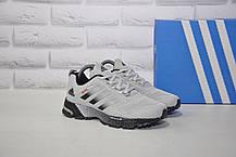 Кроссовки беговые подростковые/женские серые сетка в стиле Adidas Springblade