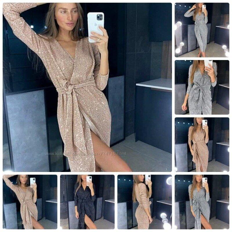 Эффектное женское платье халат на запах трикотаж с напылением и пайетками по всему платью 3 цвета