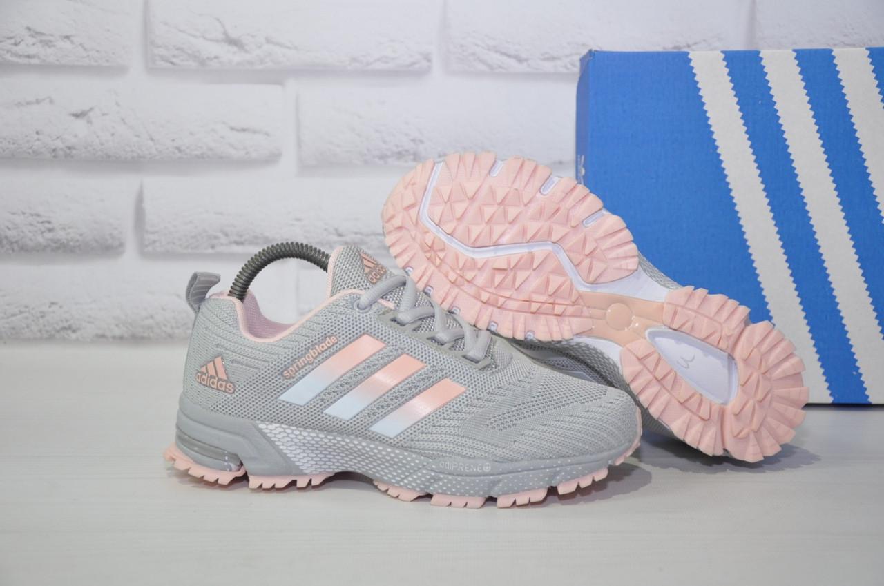 Кроссовки беговые женские серые с розовым сетка в стиле Adidas Springblade