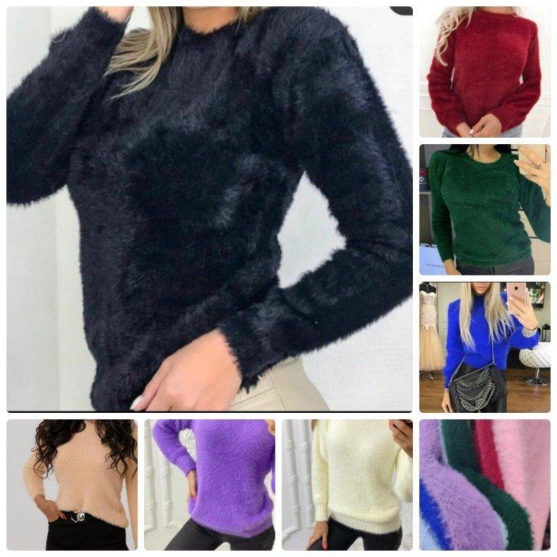 Уютный женский свитер травка укороченный универсального размера рукава на манжете 7 цветов