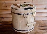 Запарник для веников дубовый 32л с металлической вставкой, фото 1