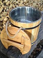 Запарник для веников дубовый 15 литров с нержавеющей вставкой, фото 1