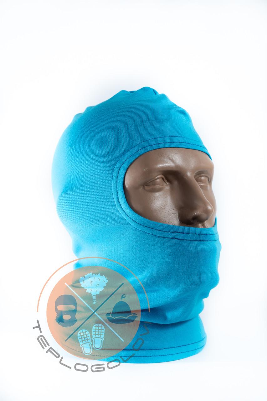 Балаклава трикотажна голуба блакитна літня за ціною виробника