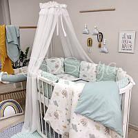 """Комплект в ліжечко (бортики - подушки) Baby Design """"Хмари"""" беж для круглої ліжечка-трансформер"""