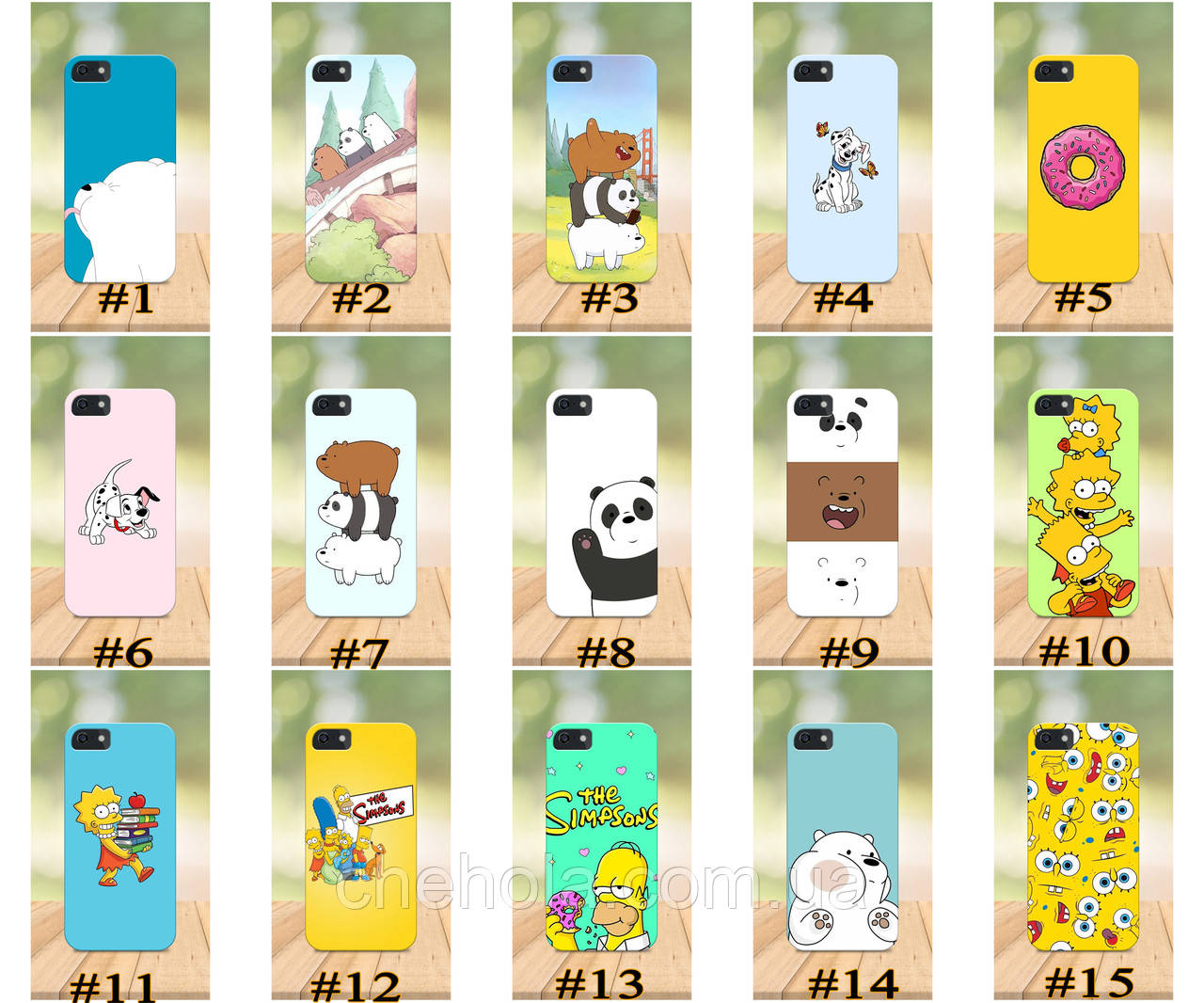 Чехол на iPhone 5 5s SE 4 4S бампер накладка с принтом Мультфильм Симпсоны Габка Боб We bare bears