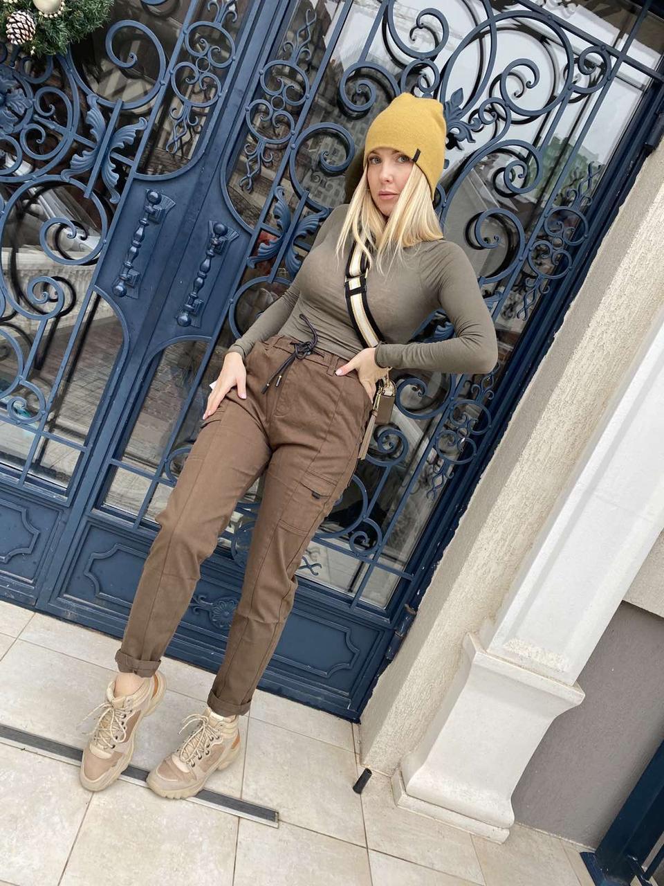 Джоггеры, джинси на резинці коттонові унісекс, накладні кишені карго, є великі розміри NN