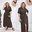 Повседневное женское длинное платье с разрезом большого размера, размеры 48-50, 52-54, 56-58, фото 3