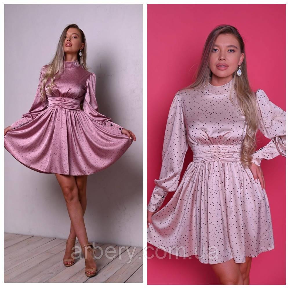 Шикарное шелковое платье в горошек