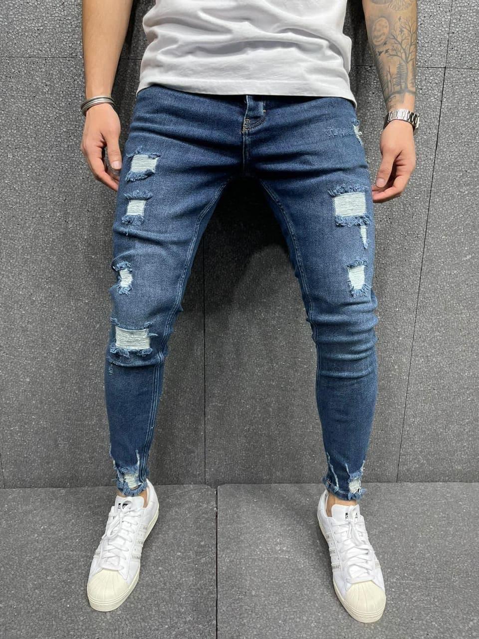 Мужские зауженные джинсы синие с заплатками