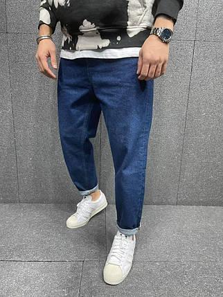 Чоловічі джинси прямі МОМ сині однотонні, фото 2