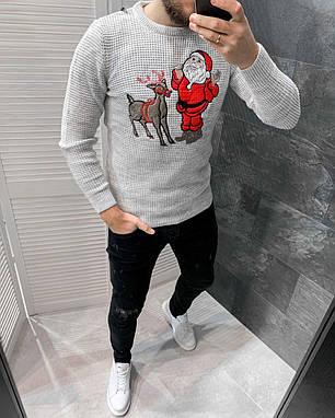 Свитер мужской новогодний серого цвета, фото 2