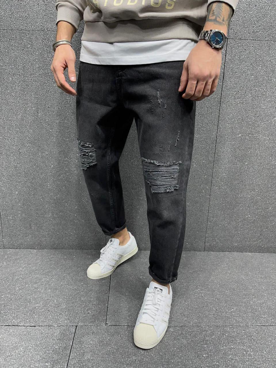 Чоловічі джинси прямі МОМ сині однотонні