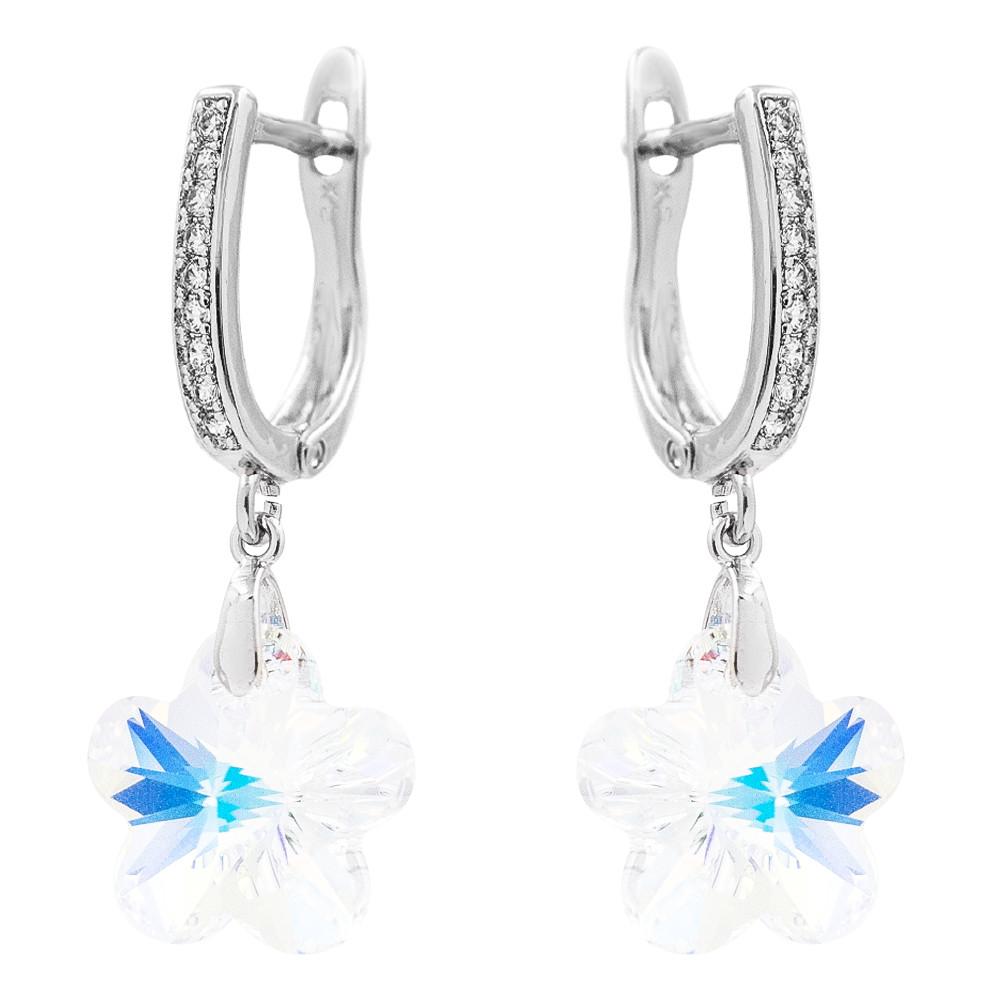 Серьги-классические с кристаллами Swarovski родиум