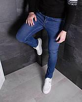 Мужские джинсы зауженные синие, фото 3
