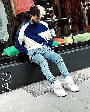 Кофта мужская Adidas сине-белого цвета, фото 2