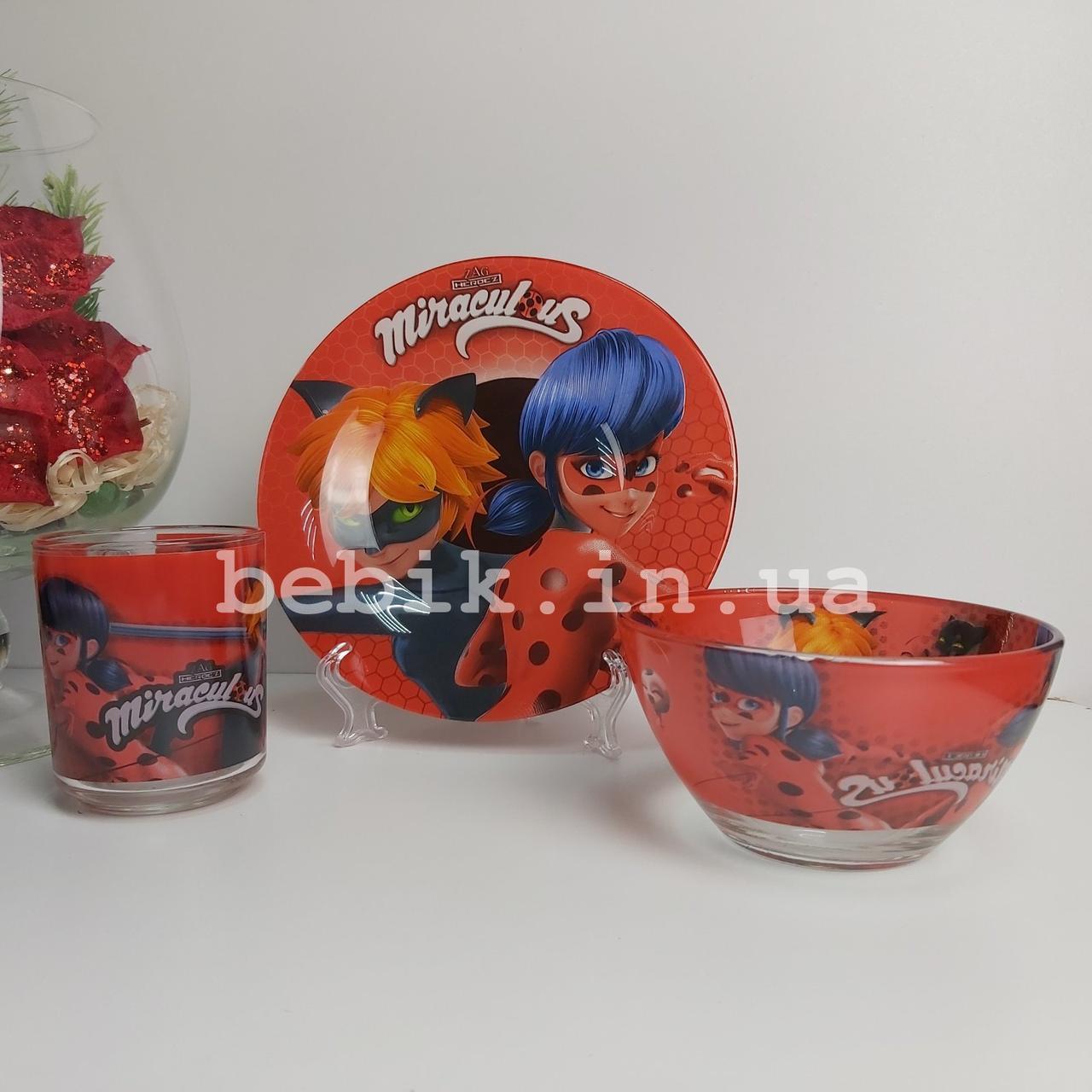 Подарочный набор детской посуды из стекла Леди Баг
