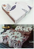 """Двуспальные постельные комплекты Фланель  """"Букет на бежевом"""", фото 1"""