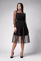 Нарядное платье из прозрачной ткани на подкладке